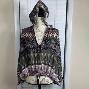 Free people hooded green top
